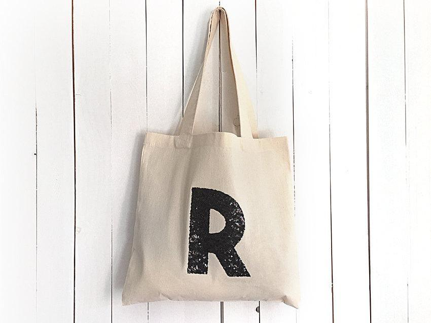 Tote Bag / Monogram / Black Sequin