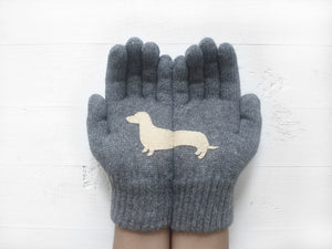 Dachshund Gloves / Grey / Beige