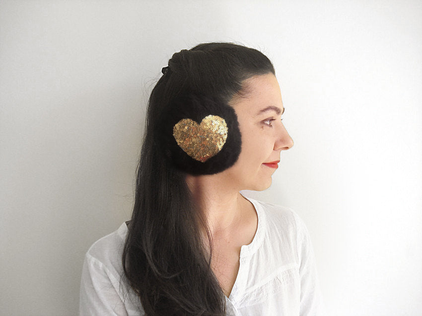 Heart Earmuffs / Black / Gold Sequin