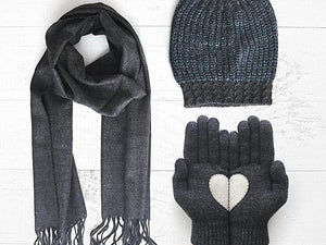 Beanie & Heart Gloves & Cotton Scarf