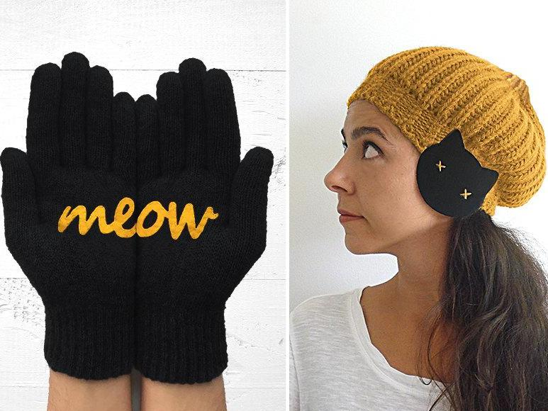 Cat Earflap Beanie / Meow Gloves