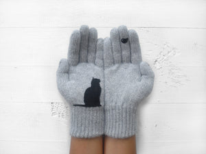 Cat & Bird Gloves / Grey
