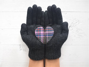 Heart Gloves / Dark Gray / Plaid