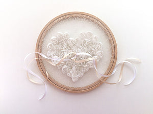 Ring Bearer Pillow / Hoop / White Heart / Tulle