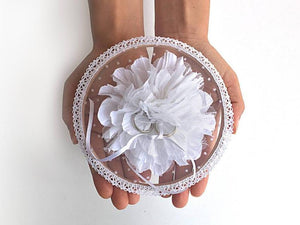 Ring Bearer Pillow / Hoop / White Flower