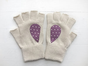 Heart Gloves / White / Polka Dot