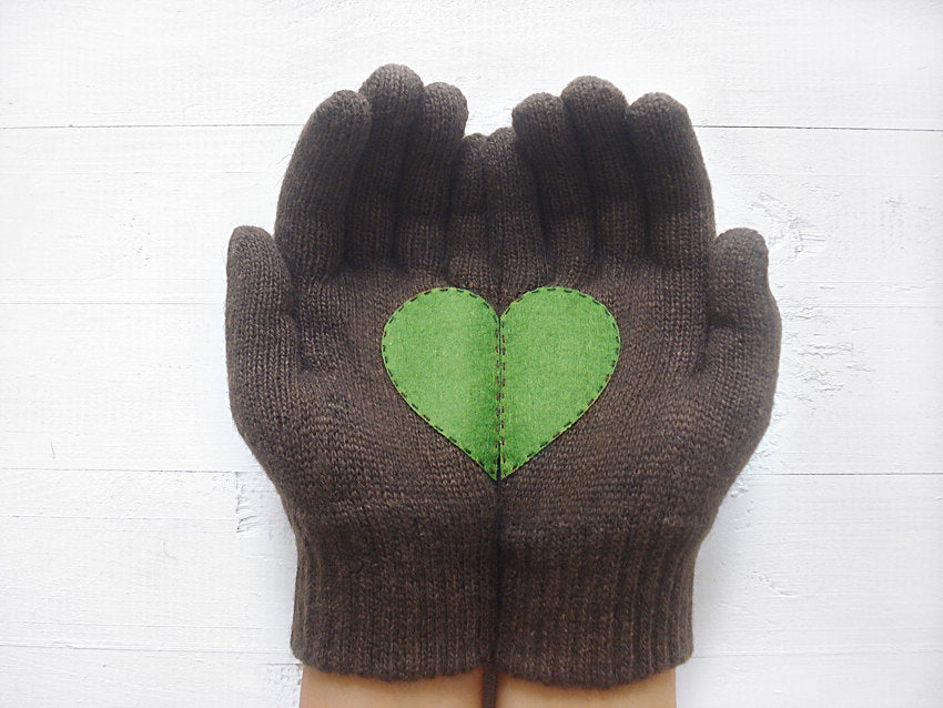 Brown Gloves with Green Heart