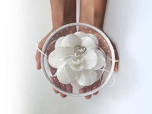 Ring Bearer Pillow / Hoop / White Flower / Polka Dot