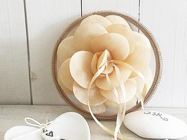 Ring Bearer Pillow / Hoop / Apricot Flower