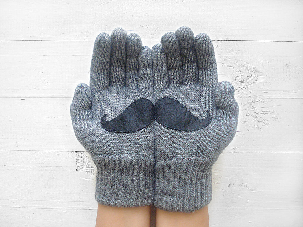 Mustache Gloves / Gray