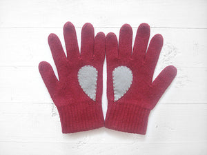 Heart Gloves / Deep Red / Gray