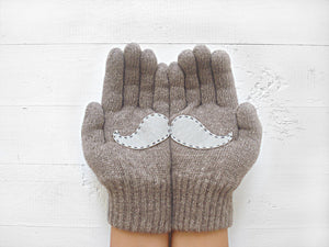 Mustache Gloves / Heather Brown