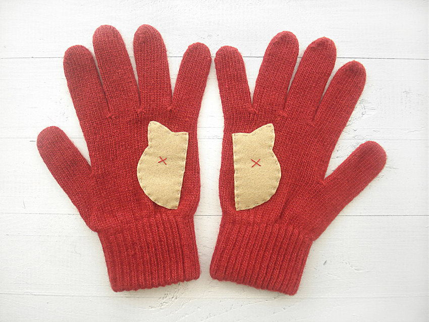 Cat Gloves / Deep Red & Beige