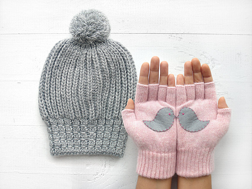 Pom Pom Beanie & Love Birds Gloves