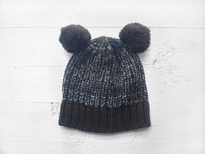 Pom Pom Beanie & Heart Gloves / Dark Blue