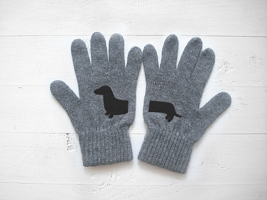 Dachshund Gloves / Grey