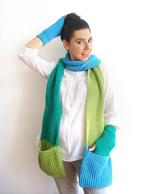Scarf & Hand Warmers / Blue & Green