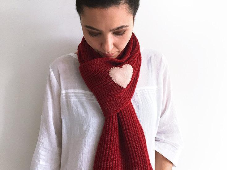 Heart Scarf / Burgundy