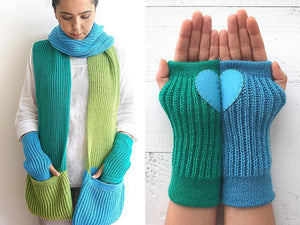 Scarf & Heart Hand Warmers / Blue, Green