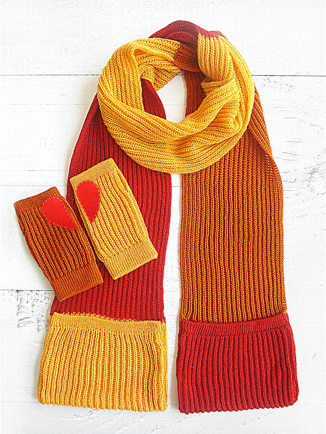 Scarf & Hand Warmers / Red, Orange
