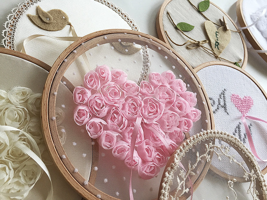 Ring Bearer Pillow / Hoop / Pink Heart