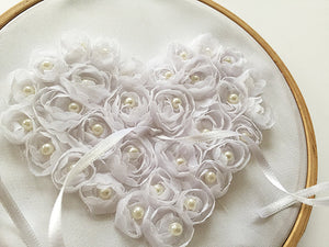Ring Bearer Pillow / Hoop / White Heart