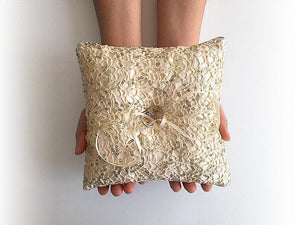 Ring Bearer Pillow / Gold Fishnet Sequin