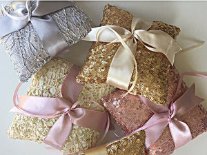 Ring Bearer Pillow / Gold Sequin / Ivory Ribbon