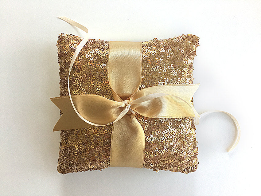 Ring Bearer Pillow / Gold Sequin / Gold Ribbon