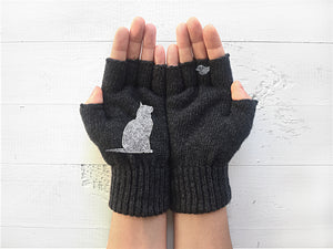 Cat & Bird Gloves / Dark Gray
