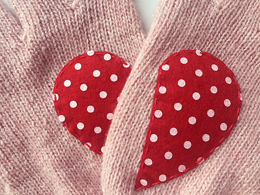 Heart Gloves / Pink / Polka Dot