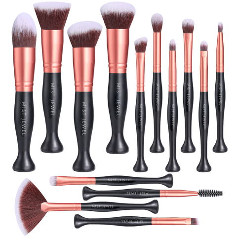 Brochas de maquillaje set 14 pcs Stand up rosegold