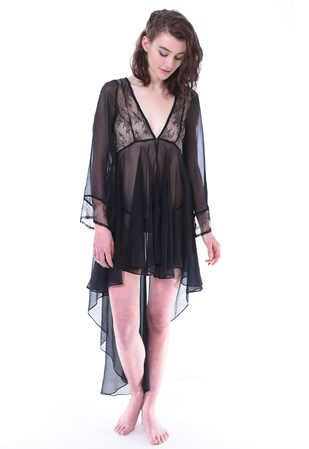 Silk Chiffon Robe - Lingerie, Tights, Stocking, Leggings, gigi*k