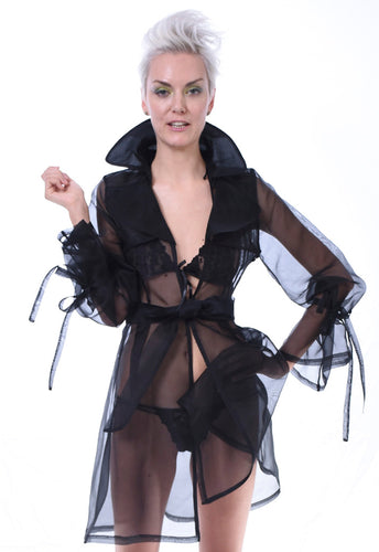 Midnight Silk Organza Trench