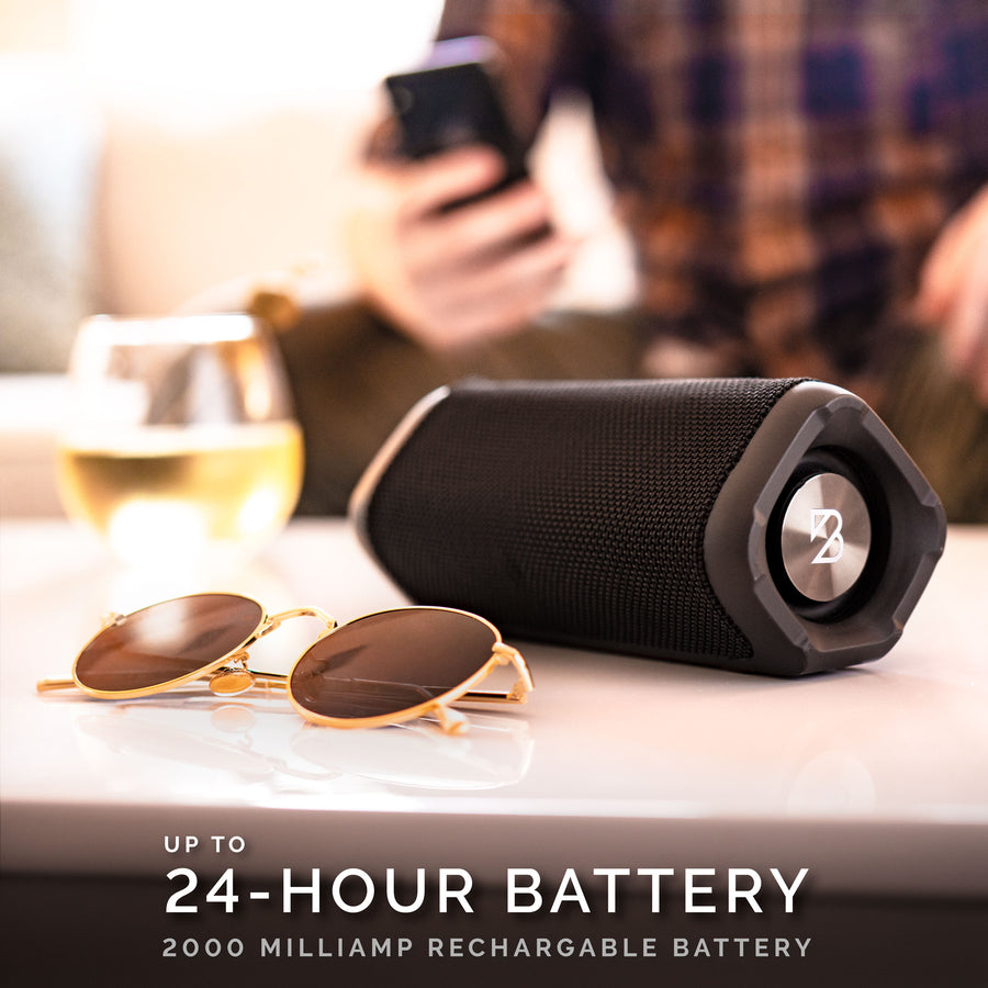 Newbury Speaker - Wireless + Wired, Splashproof, 24-Hour Battery