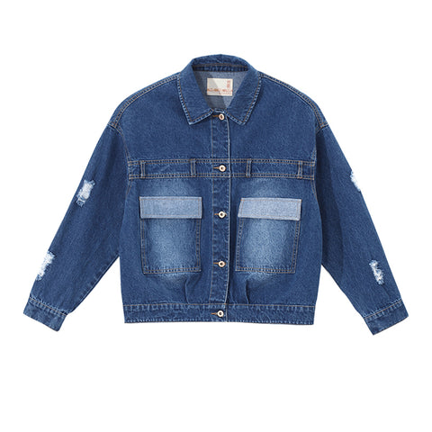 Casual Turn-down Collar Denim