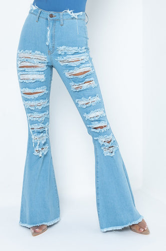 Mildred Distressed Flare Jeans
