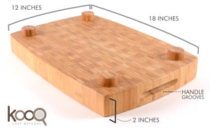 "THE EXTRA LARGE BAMBOO CHOPPING BLOCK WITH FEET BY KOOQ (18"" X 12"" INCHES X 2"" THICK)"