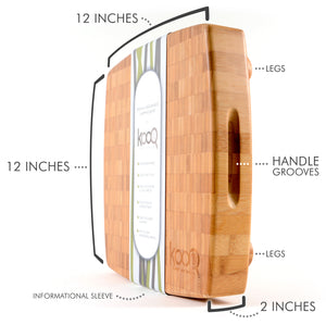 "THE LARGE BAMBOO CHOPPING BLOCK WITH FEET BY KOOQ (12"" X 12"" INCHES X 2"" THICK)"