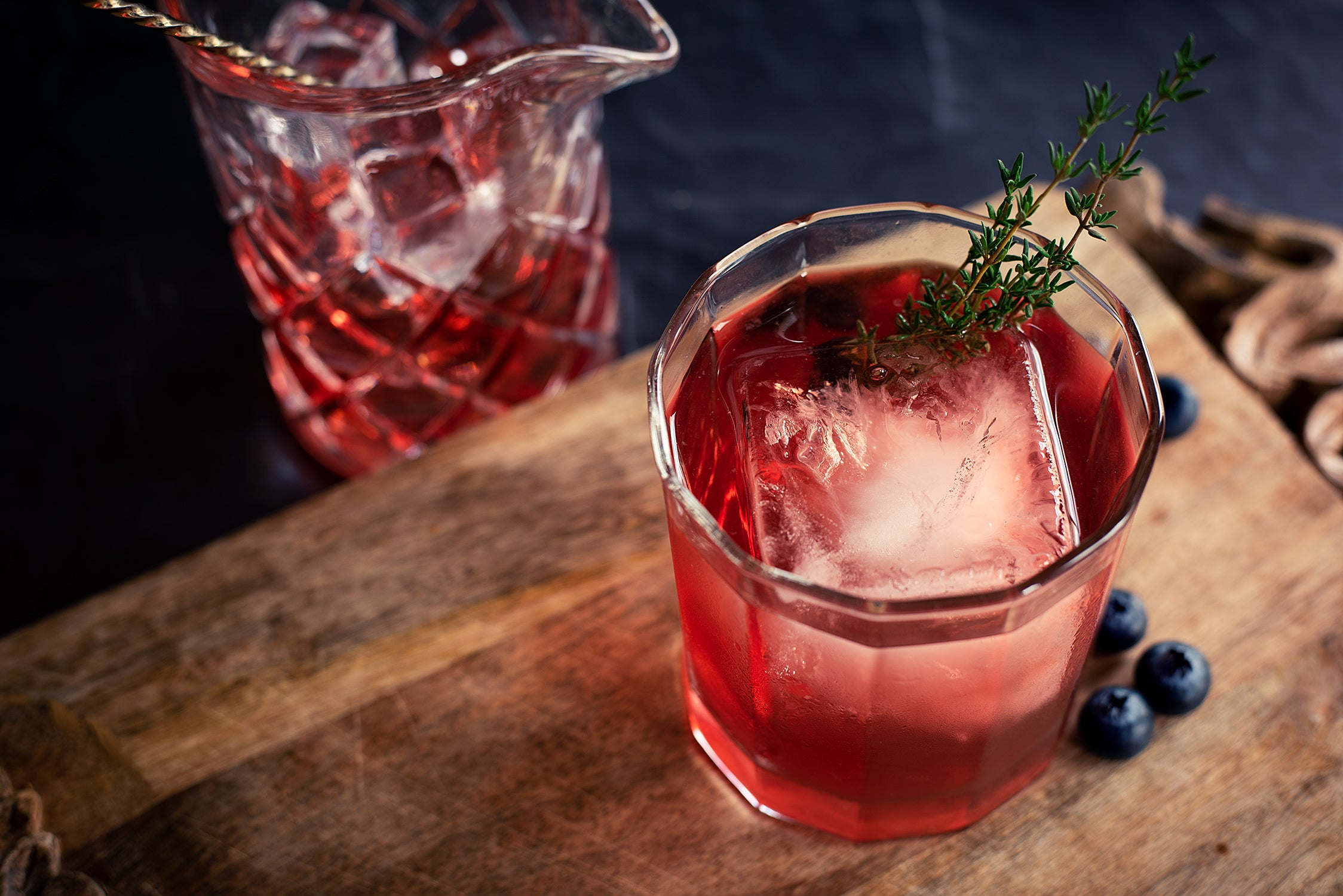 Smoky Negroni with Thyme and Blueberry