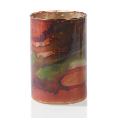 Swirling Red Colors Glass Votive - LGA Glass Decor