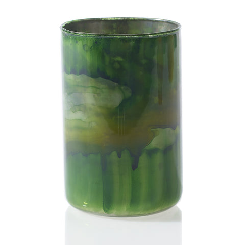Swirling Green Colors Glass Votive - LGA Glass Decor