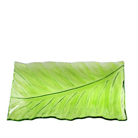 Green Leaf Pattern Recycled Glass Serving Platter - LGA Glass Decor