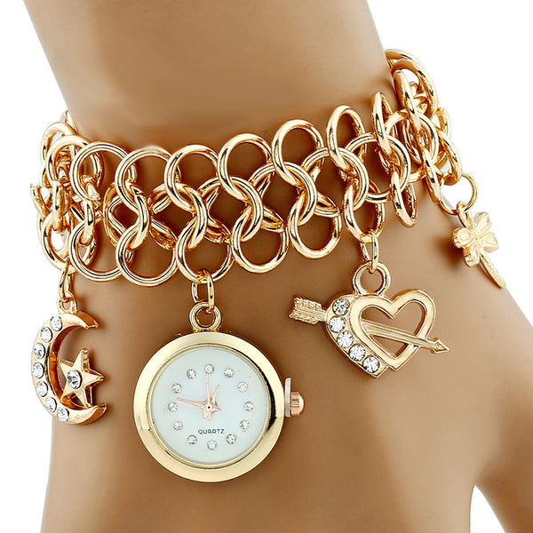 Fashion Golden Bracelet Watches Casual Women Wristwatch