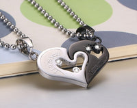 Mens Stainless Steel Chain Black Heart Love Necklaces