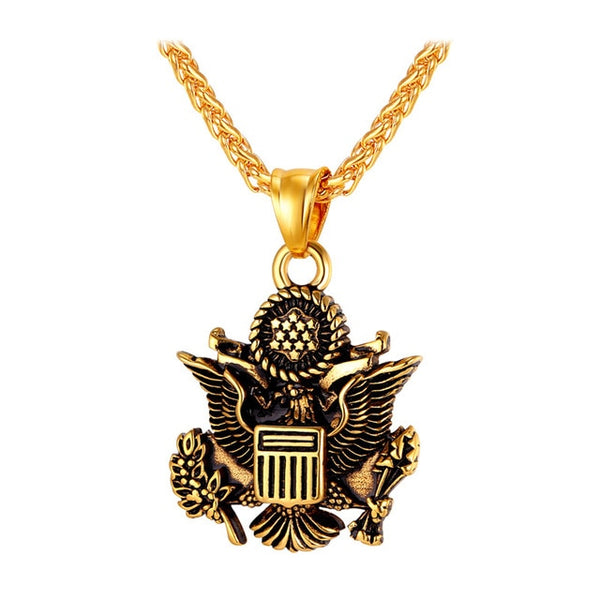 Necklace Great Seal of the United States Gold Color Stainless Steel Chain & Pendant