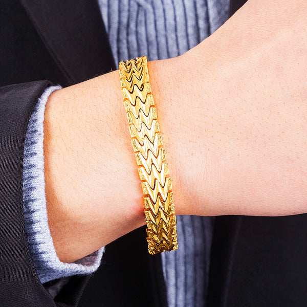 Jemmin 20CM Geometric 24K Gold High Quality Fashion Elegant Men Bracelets