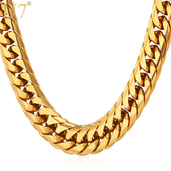 U7 Miami Cuban Chains For Men Hip Hop  Gold Color Thick Stainless Steel Long Big Chunky Necklace  N453