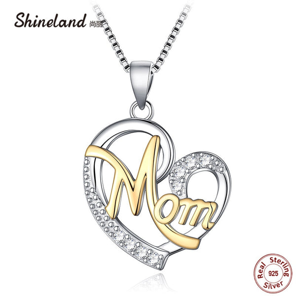 Shineland Mother's day Gift Love Heart Letter Mom Pendant Necklace Real 925 Sterling Silver AAA Zircon Collier Bijoux for Women