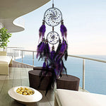 Feather Crafts Purple Dream Catcher Wind Chimes Handmade Indian Dreamcatcher Net for Wall Hanging Car Home Decor
